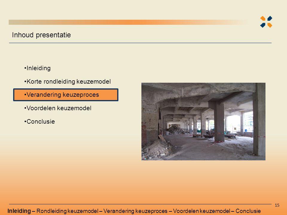 Inhoud presentatie Inleiding Korte rondleiding keuzemodel Verandering keuzeproces Voordelen keuzemodel Conclusie Inleiding – Rondleiding keuzemodel –