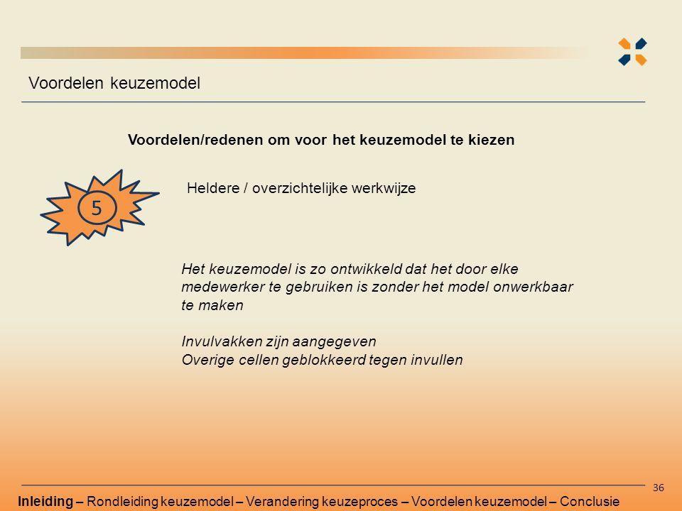 Voordelen/redenen om voor het keuzemodel te kiezen Voordelen keuzemodel 36 5 Heldere / overzichtelijke werkwijze Inleiding – Rondleiding keuzemodel –