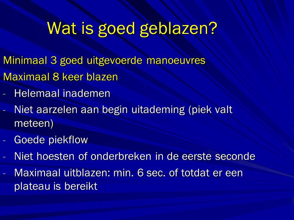 Wat is goed geblazen? Minimaal 3 goed uitgevoerde manoeuvres Maximaal 8 keer blazen - Helemaal inademen - Niet aarzelen aan begin uitademing (piek val
