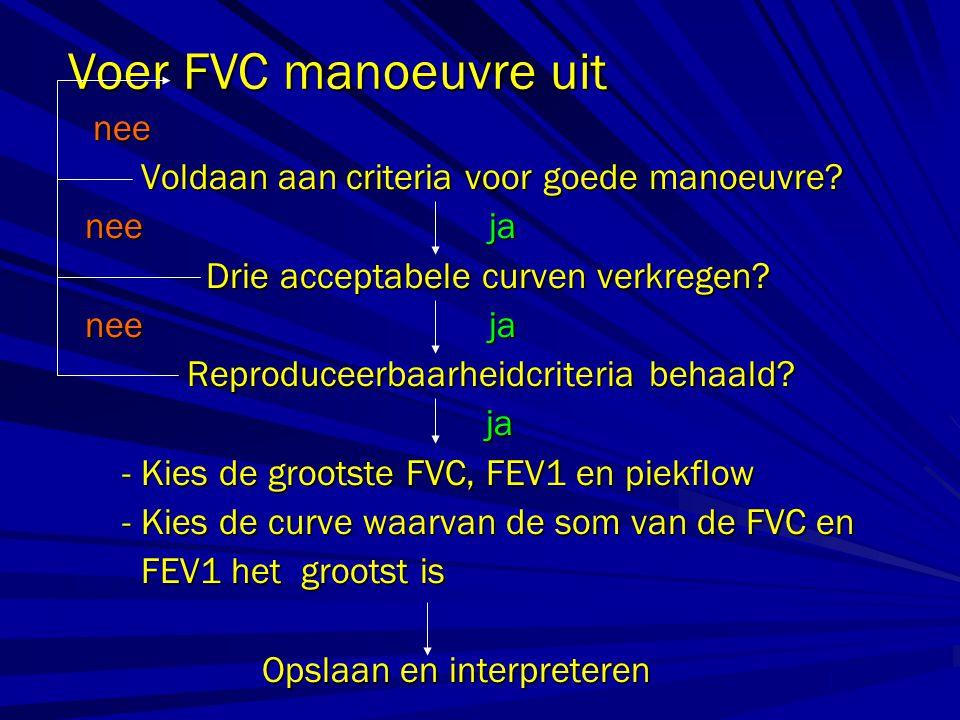 Voer FVC manoeuvre uit nee nee Voldaan aan criteria voor goede manoeuvre? Voldaan aan criteria voor goede manoeuvre? nee ja nee ja Drie acceptabele cu