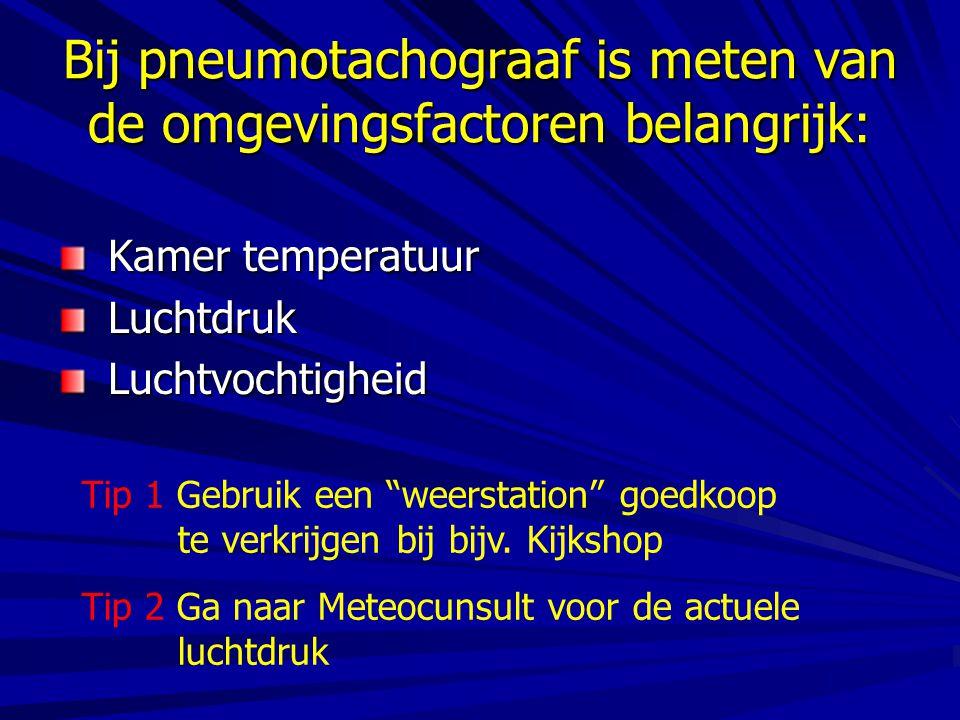 Bij pneumotachograaf is meten van de omgevingsfactoren belangrijk: Kamer temperatuur Kamer temperatuur Luchtdruk Luchtdruk Luchtvochtigheid Luchtvocht