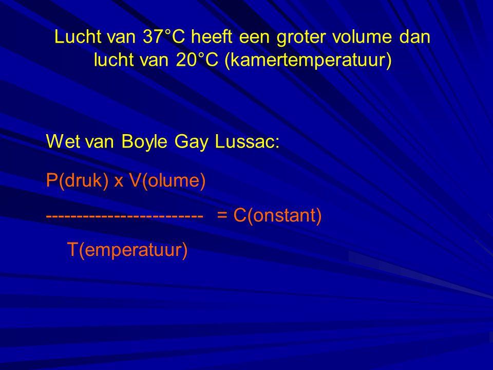 Lucht van 37°C heeft een groter volume dan lucht van 20°C (kamertemperatuur) P(druk) x V(olume) ------------------------- = C(onstant) T(emperatuur) W