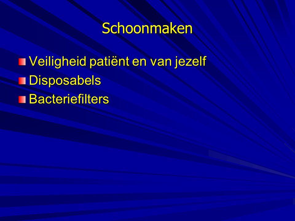 Schoonmaken Veiligheid patiënt en van jezelf DisposabelsBacteriefilters