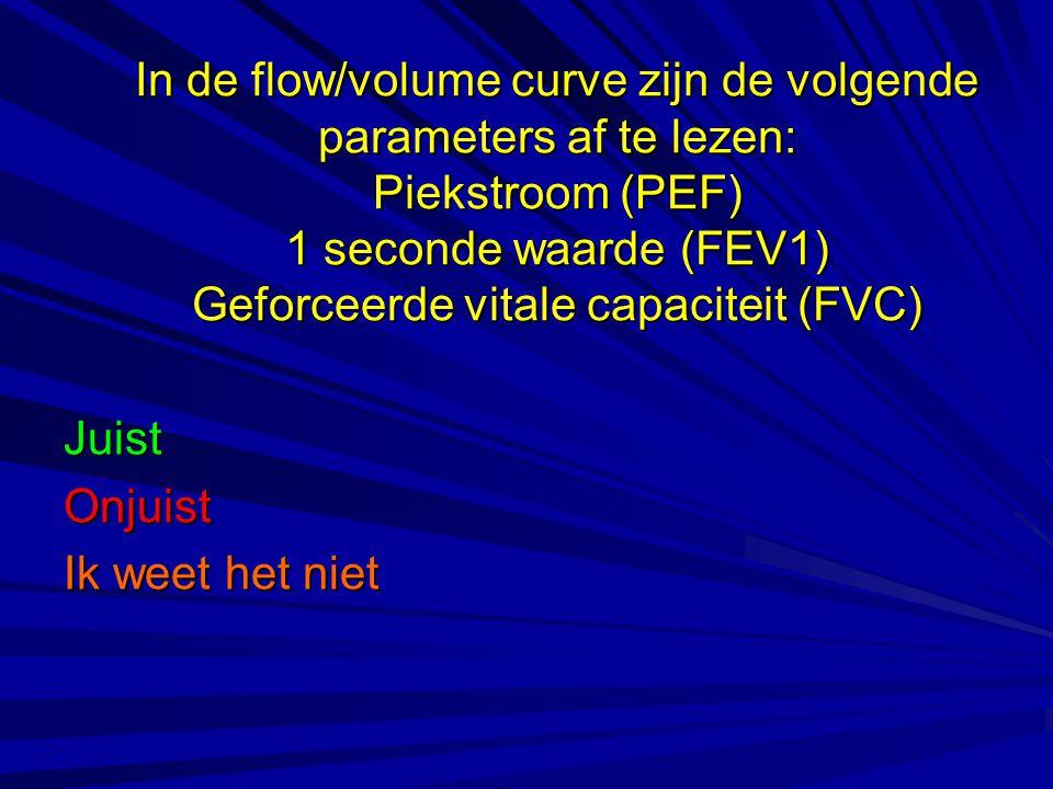 In de flow/volume curve zijn de volgende parameters af te lezen: Piekstroom (PEF) 1 seconde waarde (FEV1) Geforceerde vitale capaciteit (FVC) JuistOnj