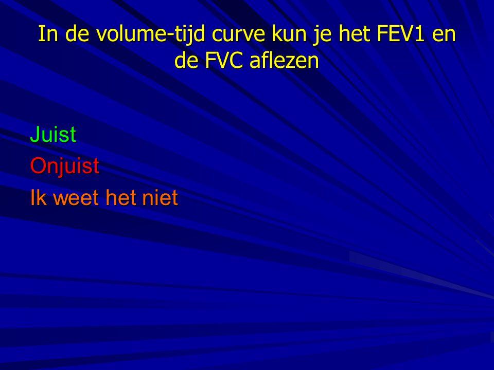 In de volume-tijd curve kun je het FEV1 en de FVC aflezen JuistOnjuist Ik weet het niet