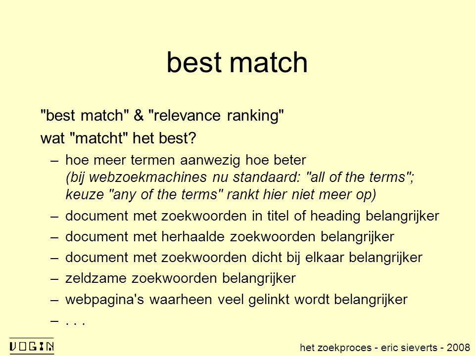 best match best match & relevance ranking wat matcht het best.