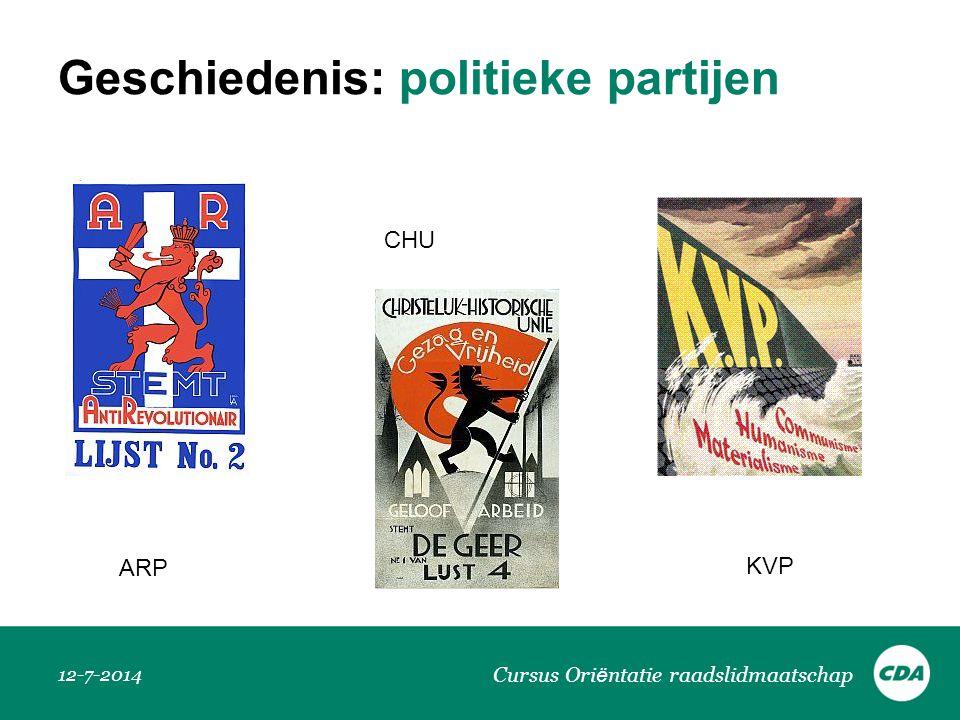 Geschiedenis: politieke partijen 12-7-2014 Cursus Ori ë ntatie raadslidmaatschap CHU ARP KVP