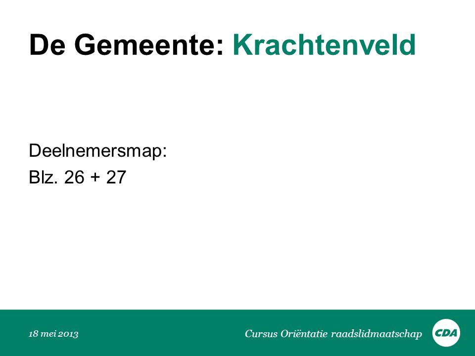 De Gemeente: Krachtenveld Deelnemersmap: Blz. 26 + 27 Cursus Oriëntatie raadslidmaatschap 18 mei 2013