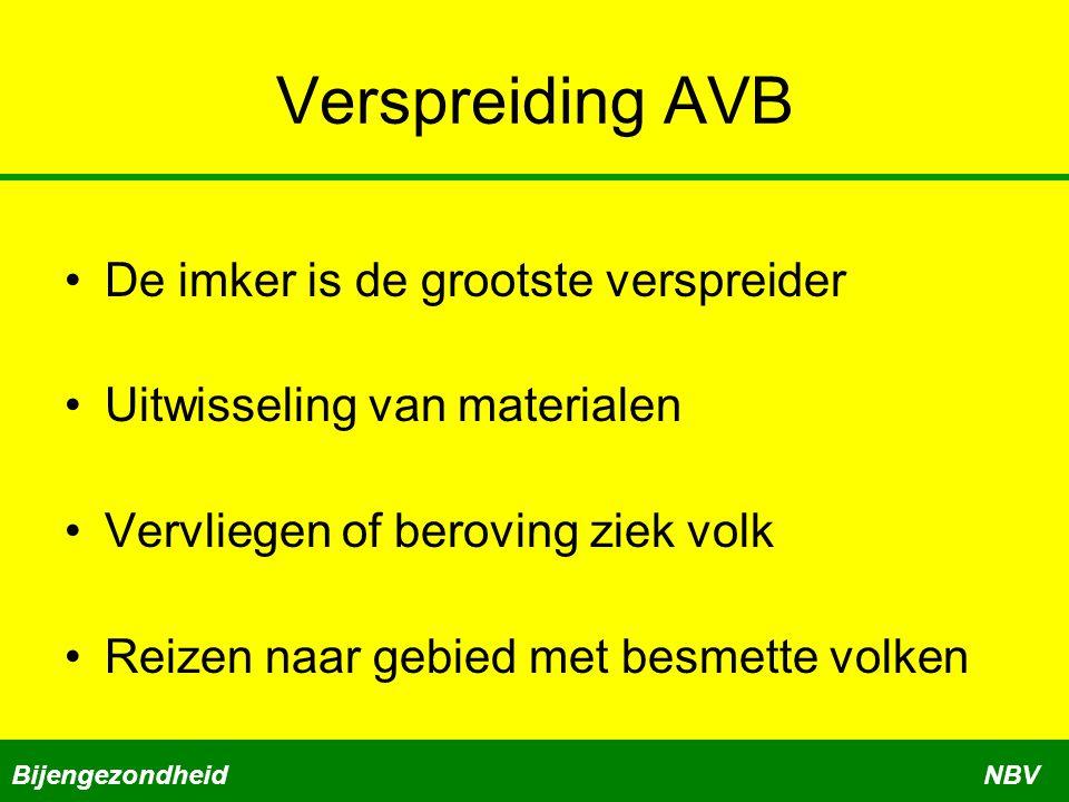 Verspreiding AVB De imker is de grootste verspreider Uitwisseling van materialen Vervliegen of beroving ziek volk Reizen naar gebied met besmette volken BijengezondheidNBV