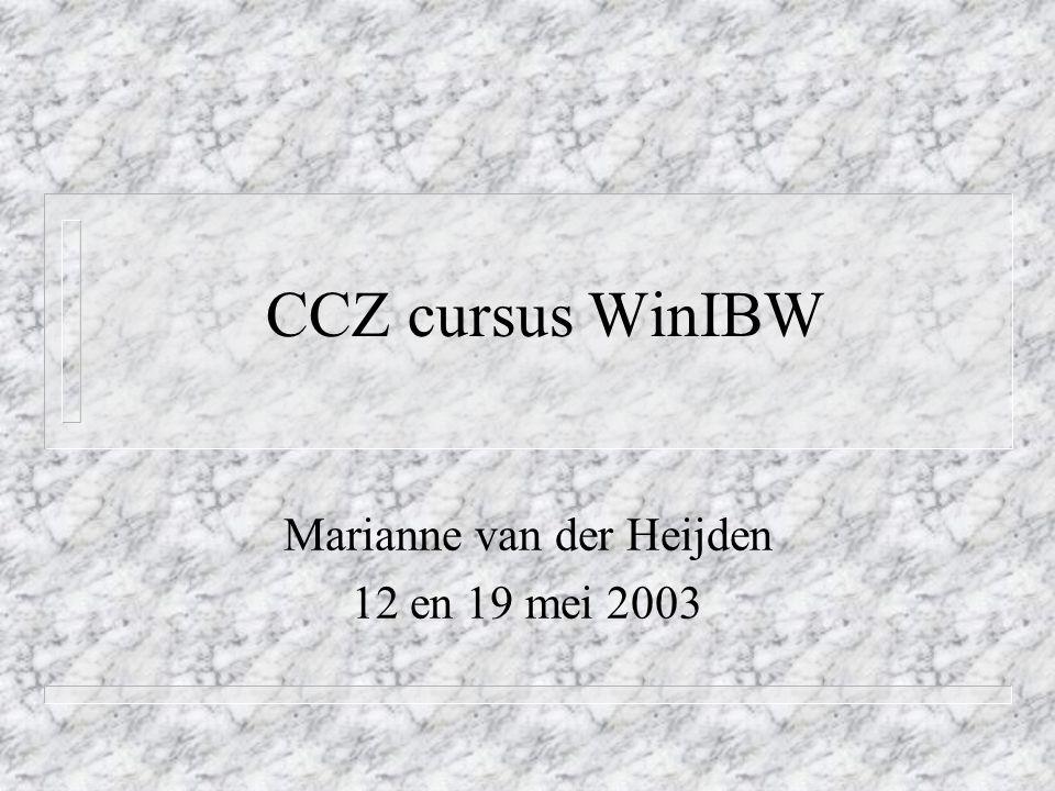 CCZ cursus WinIBW Marianne van der Heijden 12 en 19 mei 2003