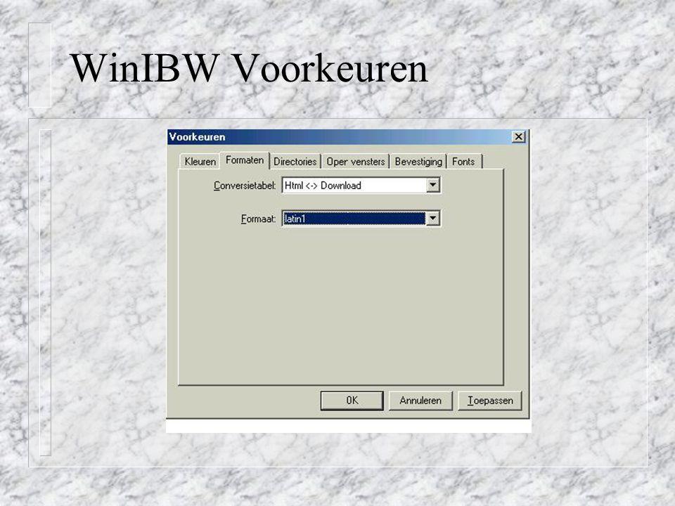 WinIBW Voorkeuren