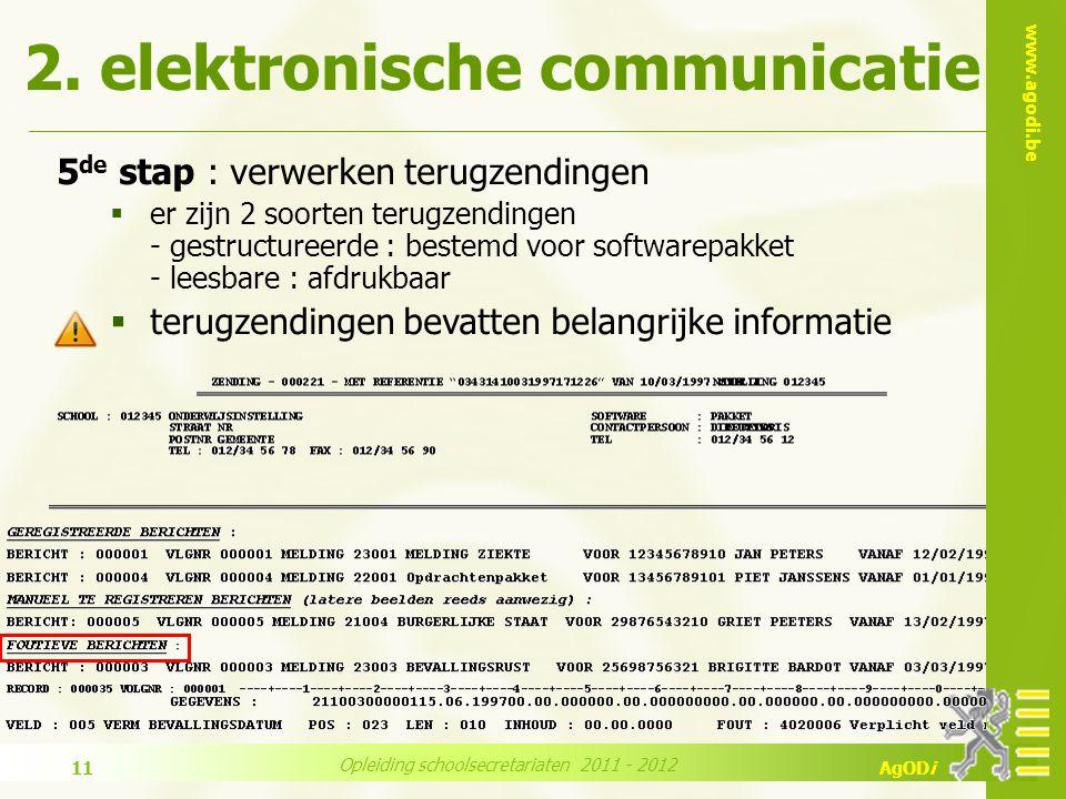 www.agodi.be AgODi Opleiding schoolsecretariaten 2011 - 2012 11 5 de stap : verwerken terugzendingen  er zijn 2 soorten terugzendingen - gestructureerde : bestemd voor softwarepakket - leesbare : afdrukbaar  terugzendingen bevatten belangrijke informatie 2.
