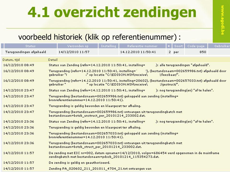 www.agodi.be AgODi Opleiding schoolsecretariaten 2011 - 2012 28 voorbeeld historiek (klik op referentienummer) : 4.1 overzicht zendingen