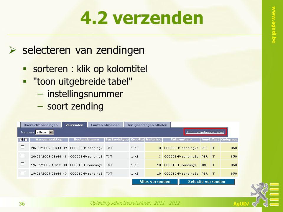 www.agodi.be AgODi Opleiding schoolsecretariaten 2011 - 2012 36  selecteren van zendingen  sorteren : klik op kolomtitel  toon uitgebreide tabel −instellingsnummer −soort zending 4.2 verzenden