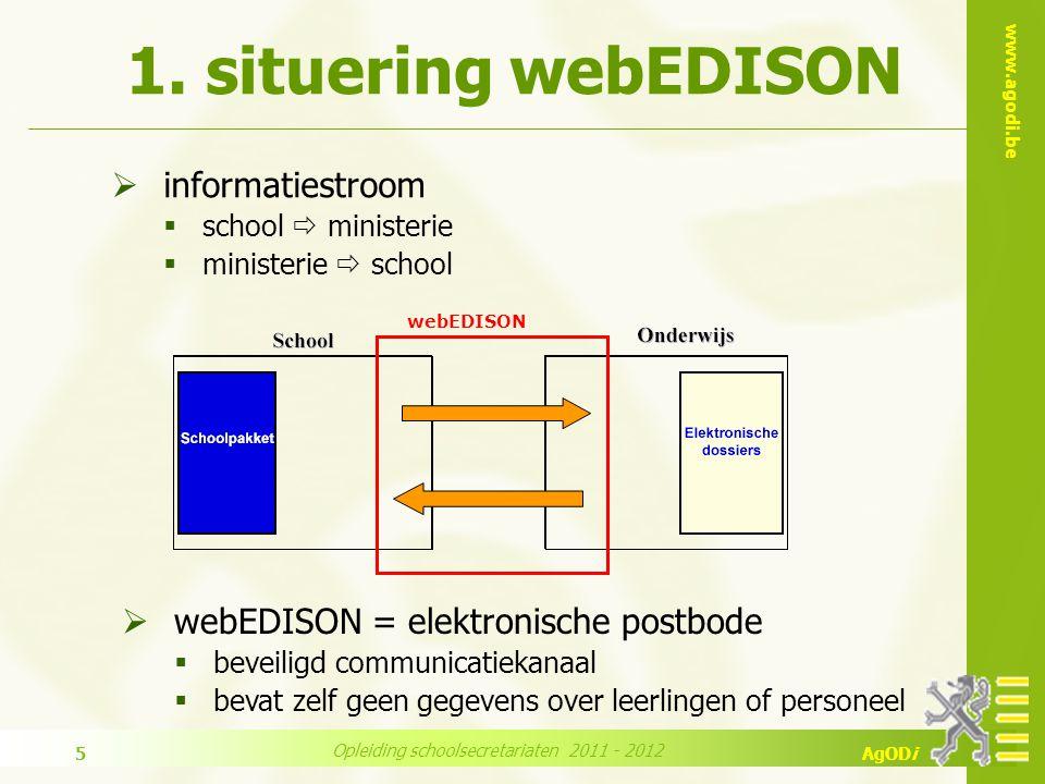 www.agodi.be AgODi Opleiding schoolsecretariaten 2011 - 2012 5  informatiestroom  school  ministerie  ministerie  school 1.