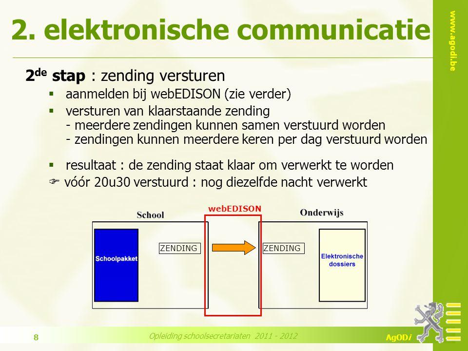 www.agodi.be AgODi Opleiding schoolsecretariaten 2011 - 2012 9 3 de stap : nachtelijke verwerking  verwerken zendingen  opname informatie in de elektronische dossiers  klaarzetten terugzendingen  gebeurt automatisch ZENDING TERUG- ZENDING 2.