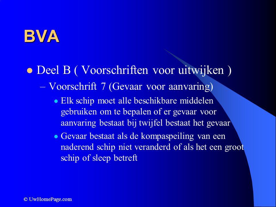 © UwHomePage.com BVA Deel B ( Voorschriften voor uitwijken ) –Voorschrift 7 (Gevaar voor aanvaring) Elk schip moet alle beschikbare middelen gebruiken
