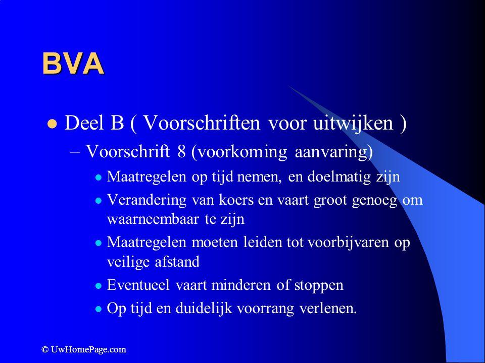 © UwHomePage.com BVA Deel B ( Voorschriften voor uitwijken ) –Voorschrift 8 (voorkoming aanvaring) Maatregelen op tijd nemen, en doelmatig zijn Verand