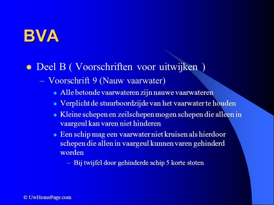 © UwHomePage.com BVA Deel B ( Voorschriften voor uitwijken ) –Voorschrift 9 (Nauw vaarwater) Alle betonde vaarwateren zijn nauwe vaarwateren Verplicht