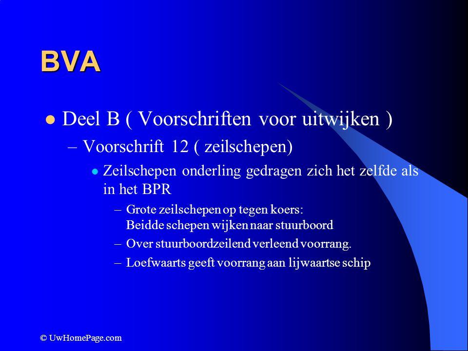 © UwHomePage.com BVA Deel B ( Voorschriften voor uitwijken ) –Voorschrift 12 ( zeilschepen) Zeilschepen onderling gedragen zich het zelfde als in het