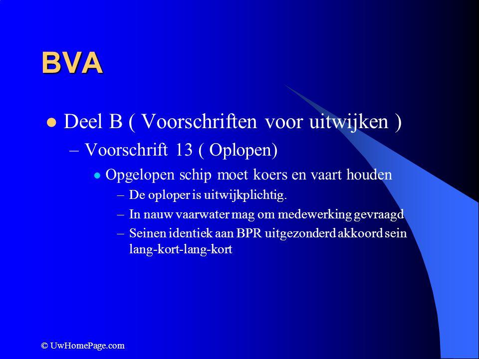 © UwHomePage.com BVA Deel B ( Voorschriften voor uitwijken ) –Voorschrift 13 ( Oplopen) Opgelopen schip moet koers en vaart houden –De oploper is uitw