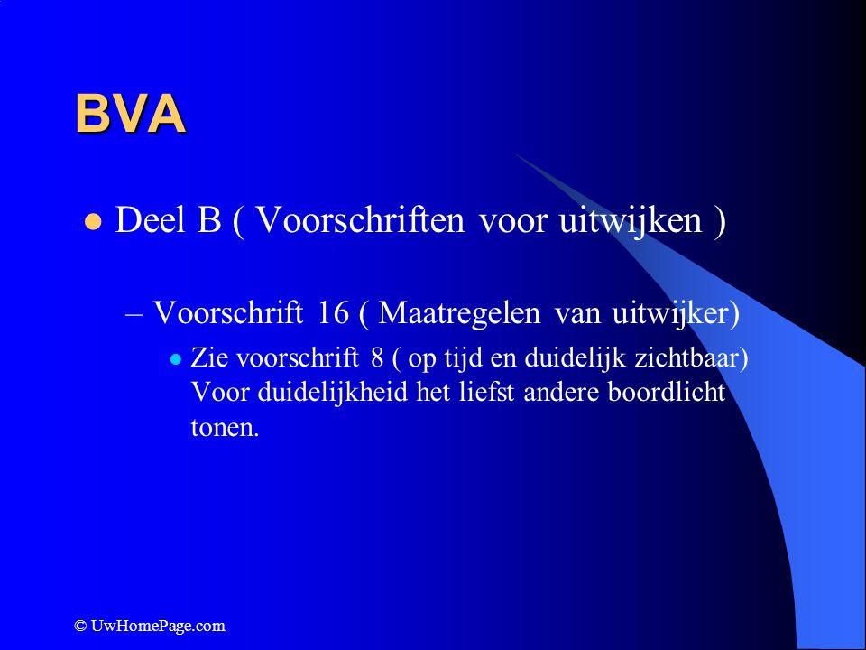© UwHomePage.com BVA Deel B ( Voorschriften voor uitwijken ) –Voorschrift 16 ( Maatregelen van uitwijker) Zie voorschrift 8 ( op tijd en duidelijk zic