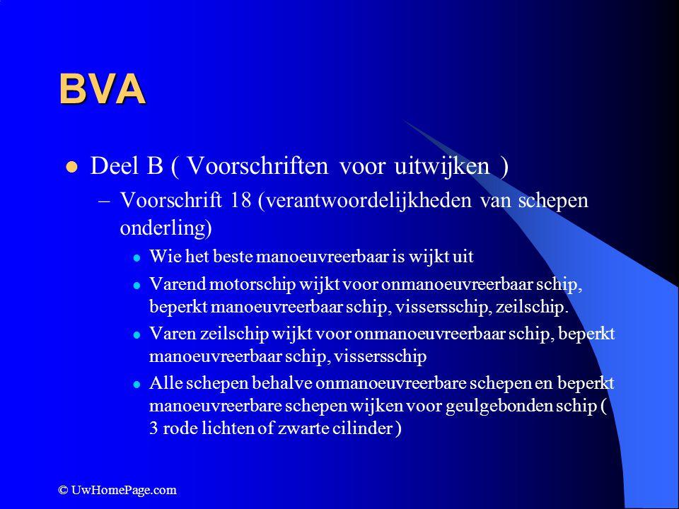 © UwHomePage.com BVA Deel B ( Voorschriften voor uitwijken ) –Voorschrift 18 (verantwoordelijkheden van schepen onderling) Wie het beste manoeuvreerba