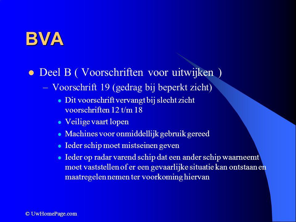 © UwHomePage.com BVA Deel B ( Voorschriften voor uitwijken ) –Voorschrift 19 (gedrag bij beperkt zicht) Dit voorschrift vervangt bij slecht zicht voor