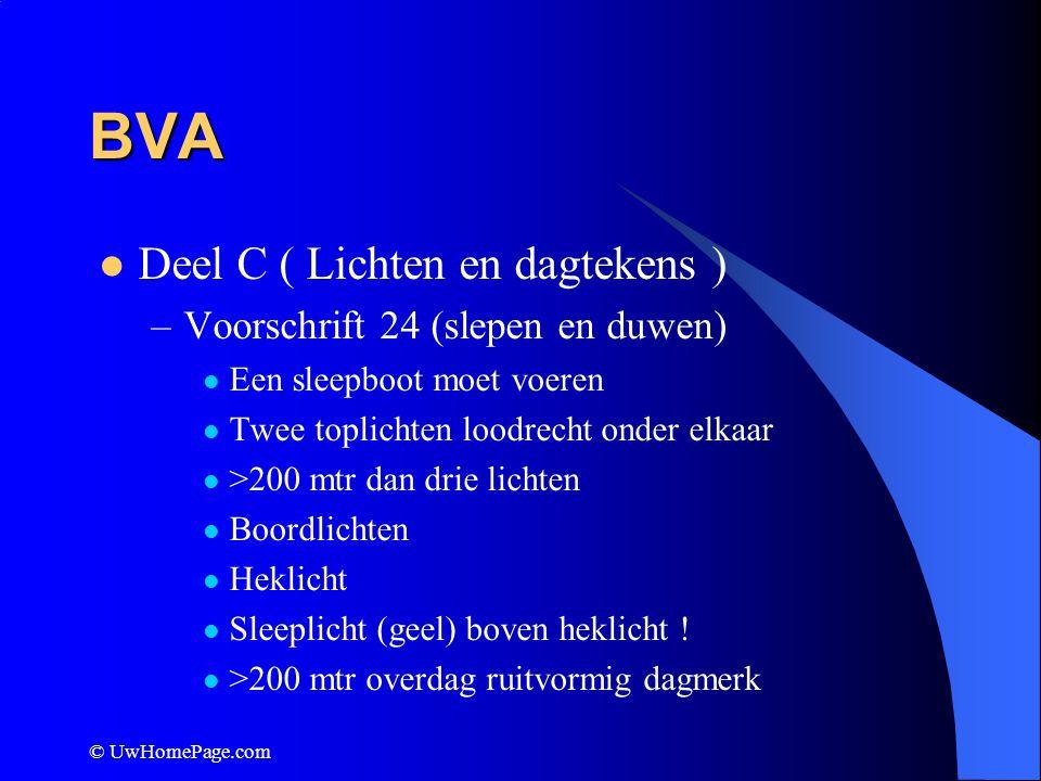 © UwHomePage.com BVA Deel C ( Lichten en dagtekens ) –Voorschrift 24 (slepen en duwen) Een sleepboot moet voeren Twee toplichten loodrecht onder elkaa