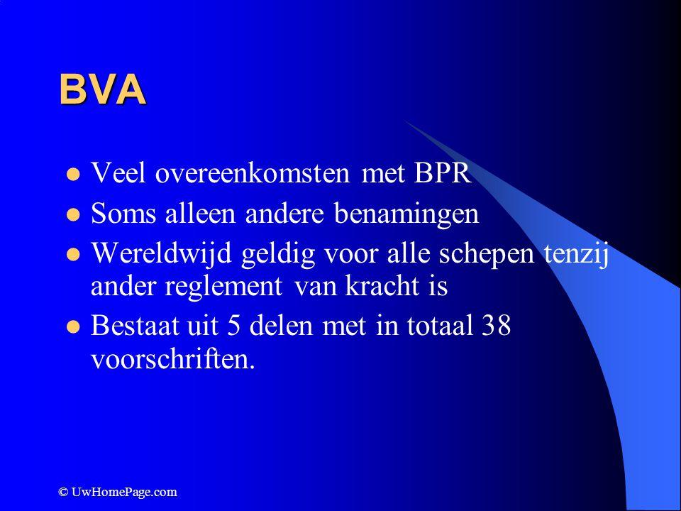 © UwHomePage.com BVA Veel overeenkomsten met BPR Soms alleen andere benamingen Wereldwijd geldig voor alle schepen tenzij ander reglement van kracht i