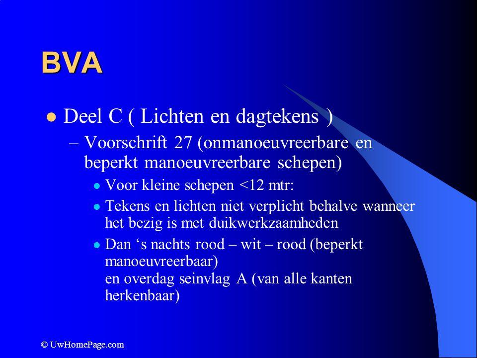 © UwHomePage.com BVA Deel C ( Lichten en dagtekens ) –Voorschrift 27 (onmanoeuvreerbare en beperkt manoeuvreerbare schepen) Voor kleine schepen <12 mt