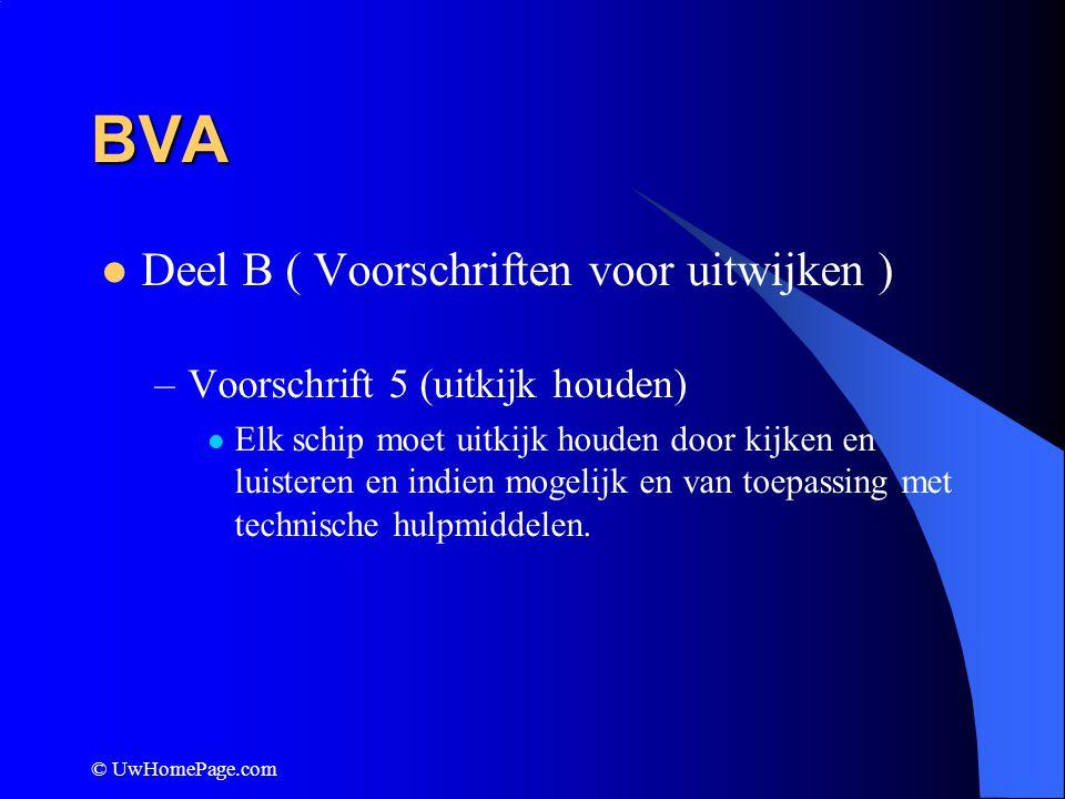 © UwHomePage.com BVA Deel B ( Voorschriften voor uitwijken ) –Voorschrift 16 ( Maatregelen van uitwijker) Zie voorschrift 8 ( op tijd en duidelijk zichtbaar) Voor duidelijkheid het liefst andere boordlicht tonen.
