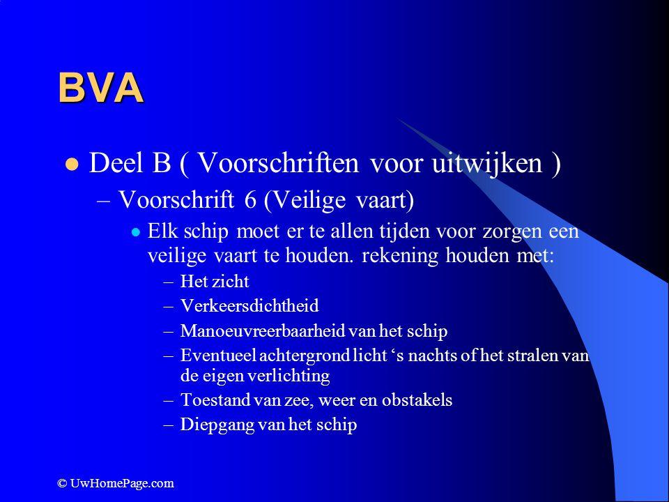 © UwHomePage.com BVA Deel B ( Voorschriften voor uitwijken ) –Voorschrift 6 (Veilige vaart) Elk schip moet er te allen tijden voor zorgen een veilige