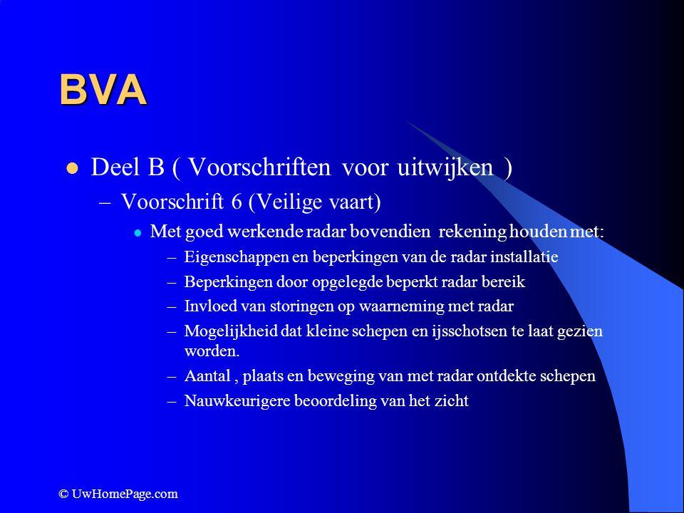 © UwHomePage.com BVA Deel B ( Voorschriften voor uitwijken ) –Voorschrift 18 (verantwoordelijkheden van schepen onderling) Wie het beste manoeuvreerbaar is wijkt uit Varend motorschip wijkt voor onmanoeuvreerbaar schip, beperkt manoeuvreerbaar schip, vissersschip, zeilschip.