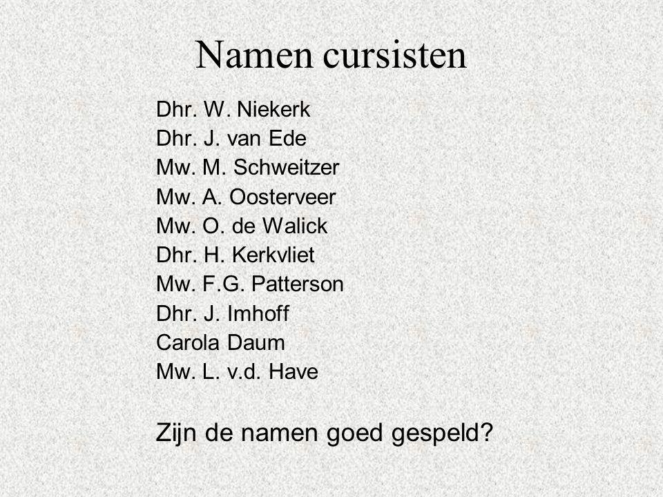 Namen cursisten Dhr. W. Niekerk Dhr. J. van Ede Mw. M. Schweitzer Mw. A. Oosterveer Mw. O. de Walick Dhr. H. Kerkvliet Mw. F.G. Patterson Dhr. J. Imho