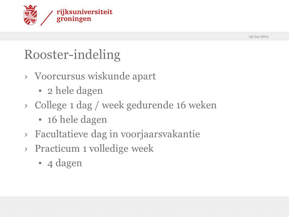 19-04-2011 Rooster-indeling ›Voorcursus wiskunde apart 2 hele dagen ›College 1 dag / week gedurende 16 weken 16 hele dagen ›Facultatieve dag in voorja