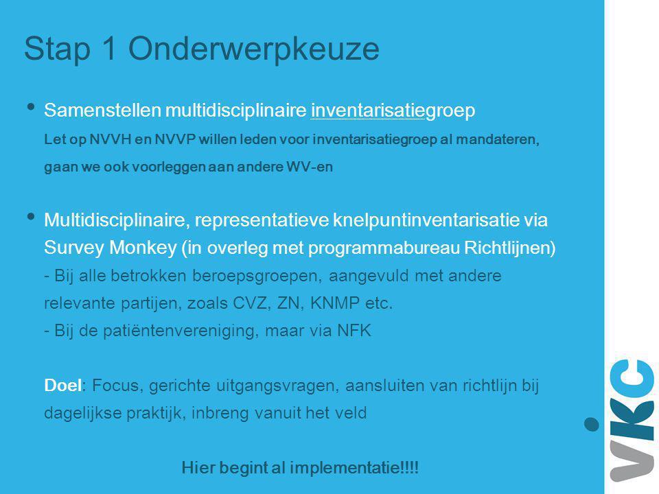 Stap 1 Onderwerpkeuze Samenstellen multidisciplinaire inventarisatiegroep Let op NVVH en NVVP willen leden voor inventarisatiegroep al mandateren, gaa