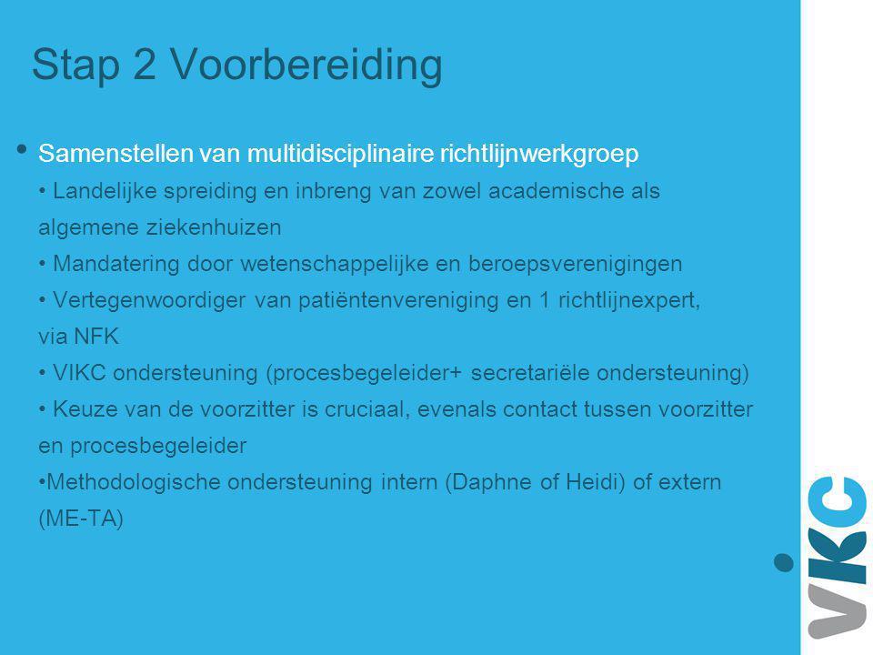 Stap 2 Voorbereiding Samenstellen van multidisciplinaire richtlijnwerkgroep Landelijke spreiding en inbreng van zowel academische als algemene ziekenh