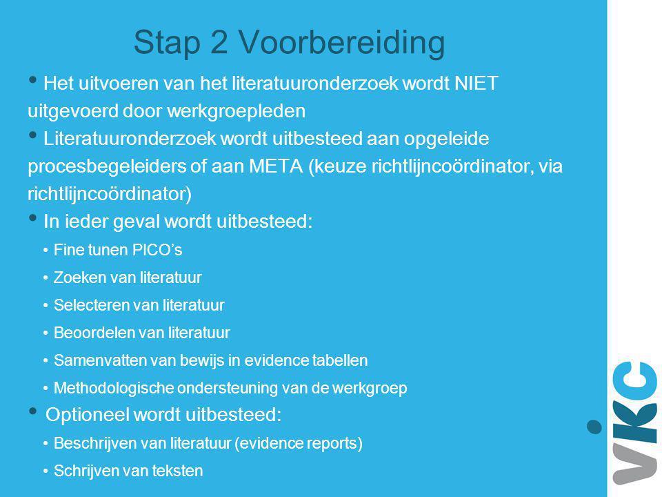Stap 2 Voorbereiding Het uitvoeren van het literatuuronderzoek wordt NIET uitgevoerd door werkgroepleden Literatuuronderzoek wordt uitbesteed aan opge