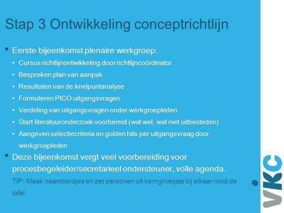 Stap 3 Ontwikkeling conceptrichtlijn Eerste bijeenkomst plenaire werkgroep: Cursus richtlijnontwikkeling door richtlijncoördinator Bespreken plan van