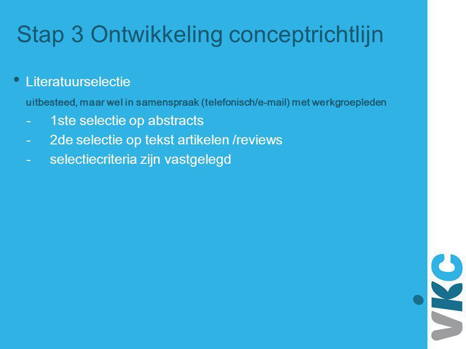 Stap 3 Ontwikkeling conceptrichtlijn Literatuurselectie uitbesteed, maar wel in samenspraak (telefonisch/e-mail) met werkgroepleden - 1ste selectie op
