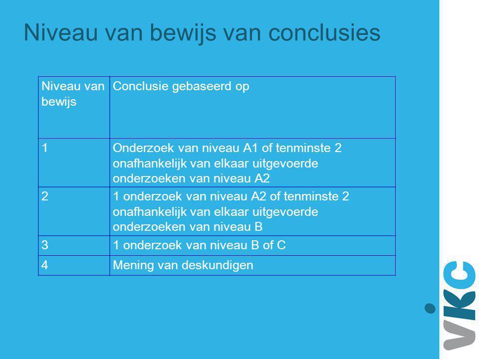 Niveau van bewijs Conclusie gebaseerd op 1Onderzoek van niveau A1 of tenminste 2 onafhankelijk van elkaar uitgevoerde onderzoeken van niveau A2 21 ond