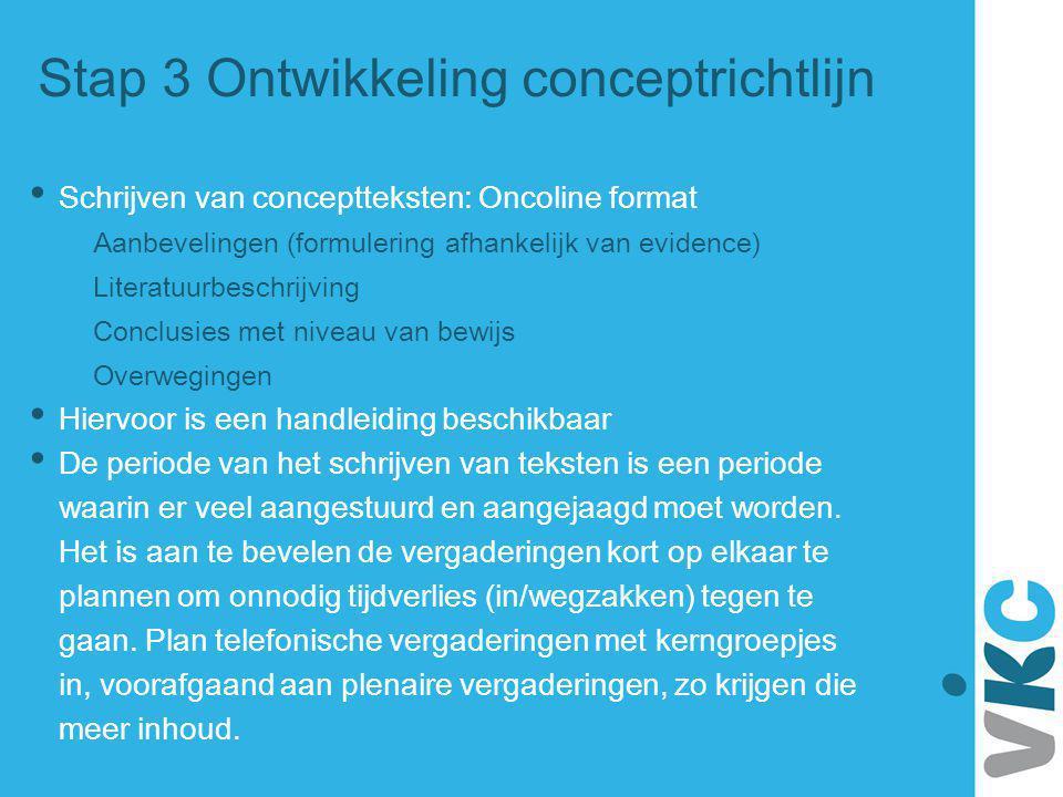 Stap 3 Ontwikkeling conceptrichtlijn Schrijven van conceptteksten: Oncoline format Aanbevelingen (formulering afhankelijk van evidence) Literatuurbesc