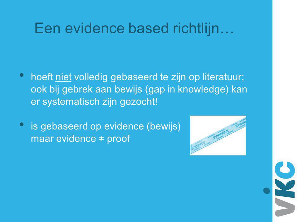 Niveau van bewijs Conclusie gebaseerd op 1Onderzoek van niveau A1 of tenminste 2 onafhankelijk van elkaar uitgevoerde onderzoeken van niveau A2 21 onderzoek van niveau A2 of tenminste 2 onafhankelijk van elkaar uitgevoerde onderzoeken van niveau B 31 onderzoek van niveau B of C 4Mening van deskundigen Niveau van bewijs van conclusies