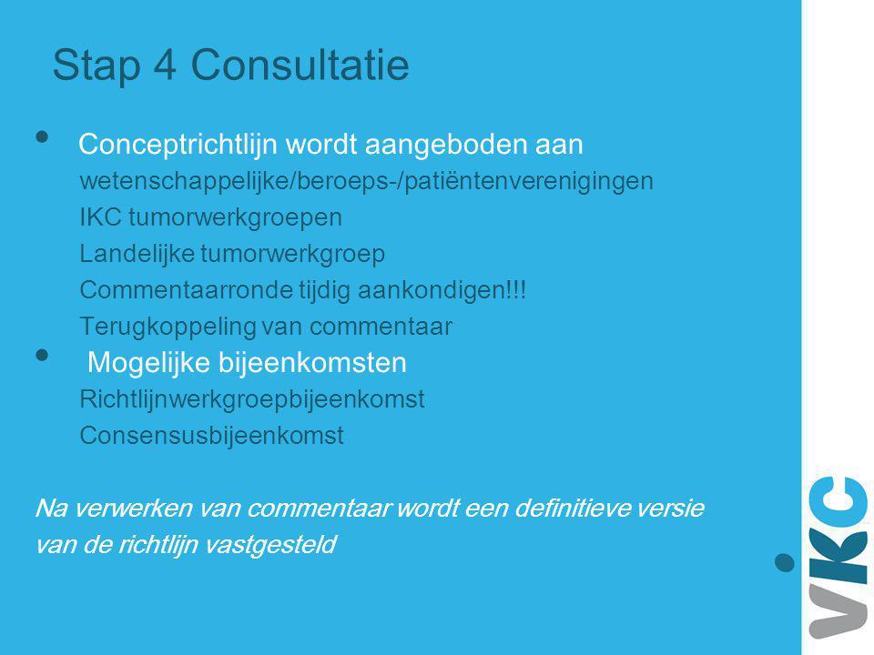 Stap 4 Consultatie Conceptrichtlijn wordt aangeboden aan wetenschappelijke/beroeps-/patiëntenverenigingen IKC tumorwerkgroepen Landelijke tumorwerkgro