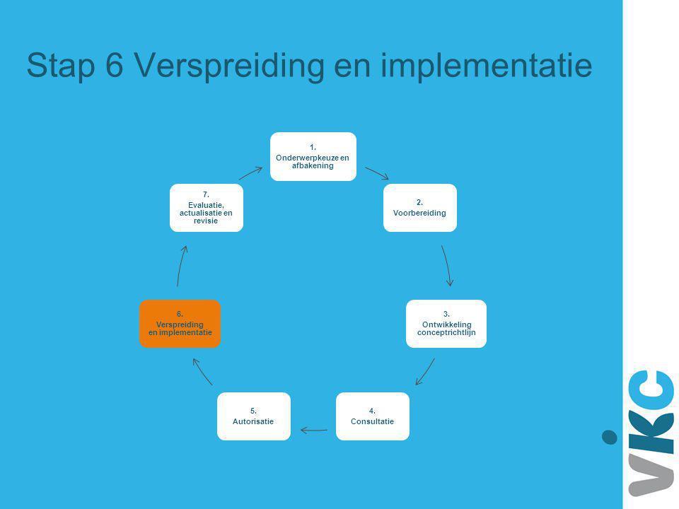 Stap 6 Verspreiding en implementatie 1. Onderwerpkeuze en afbakening 2. Voorbereiding 3. Ontwikkeling conceptrichtlijn 4. Consultatie 5. Autorisatie 6