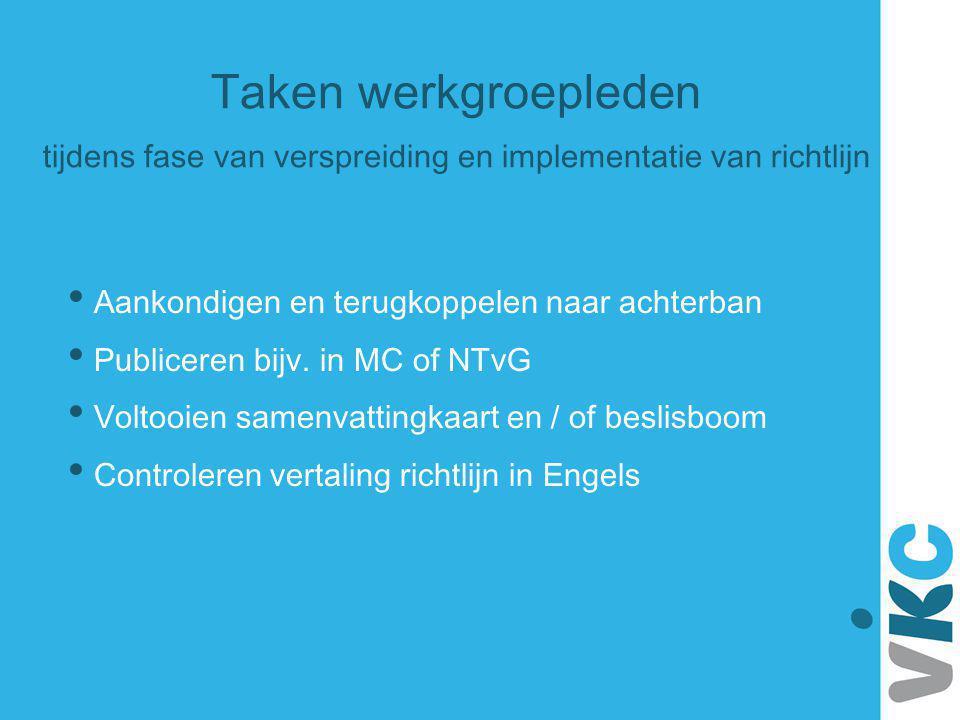 Taken werkgroepleden tijdens fase van verspreiding en implementatie van richtlijn Aankondigen en terugkoppelen naar achterban Publiceren bijv. in MC o
