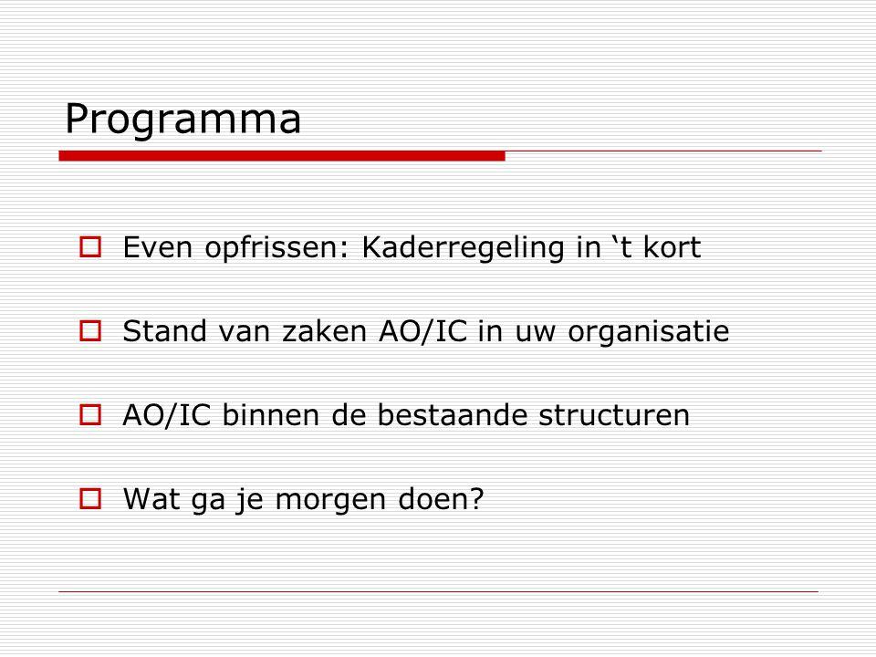 Programma  Even opfrissen: Kaderregeling in 't kort  Stand van zaken AO/IC in uw organisatie  AO/IC binnen de bestaande structuren  Wat ga je morg