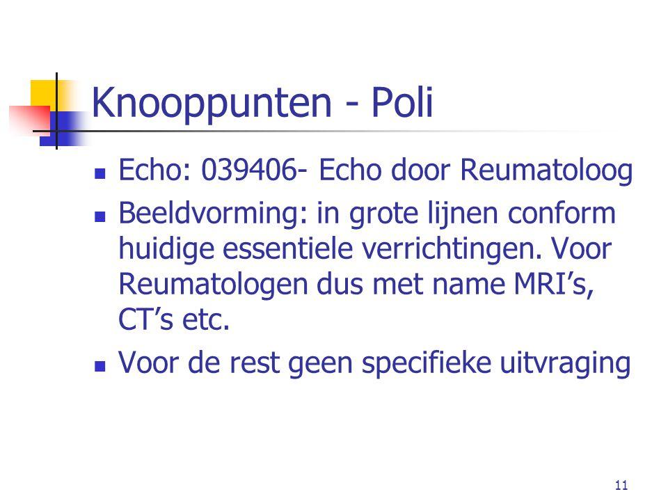 11 Knooppunten - Poli Echo: 039406- Echo door Reumatoloog Beeldvorming: in grote lijnen conform huidige essentiele verrichtingen.