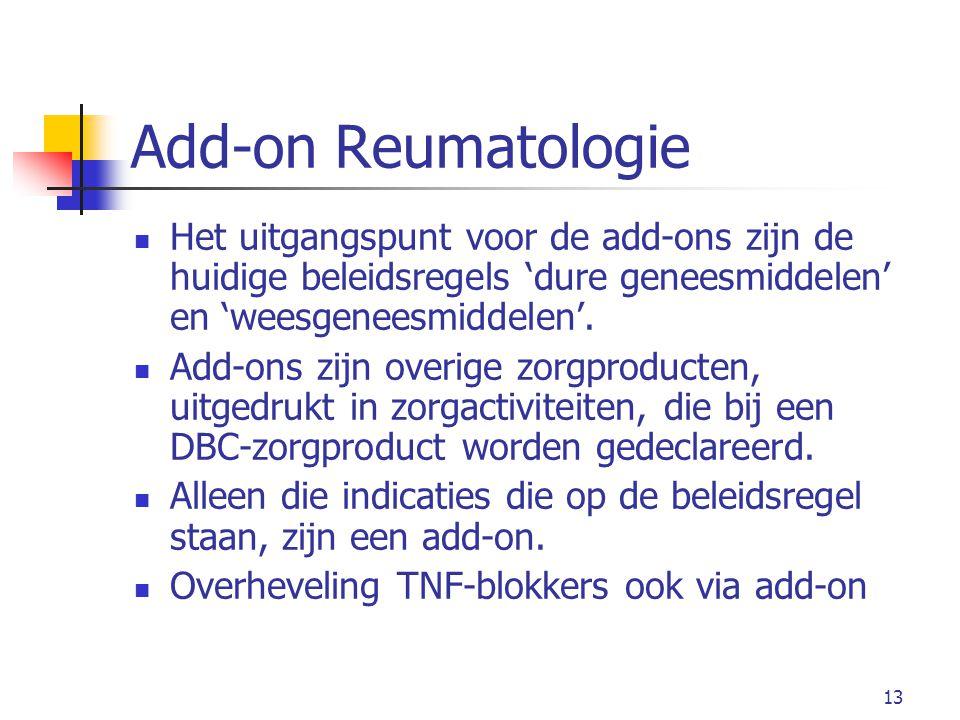 13 Add-on Reumatologie Het uitgangspunt voor de add-ons zijn de huidige beleidsregels 'dure geneesmiddelen' en 'weesgeneesmiddelen'.